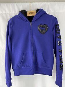 Victorias Secret PINK Faux Fur lined hoodie size Large  Blue Sequined down arm