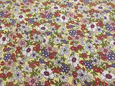 """Crema """" Tokyo Fioritura """" fiori, Stampa Floreale 100% COTONE POPELINE tessuto"""