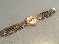 RARE MENS Disney Mickey Mouse  Manual Mechanical Watch  3 STRAND  BAND FOR PARTS