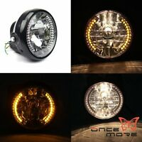 """7"""" Motorcycle H4 Halo Headlight With LED Turn Signal Light For Harley Davidson"""