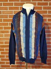 INSERCH Long Sleeve Full Zip Blue 100% Cotton Sweater Mens Large EUC