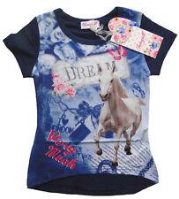 Mädchen T-Shirt mit tollem Pferde Motiv cool kurzarm Shirt Pferd Girl Longshirt