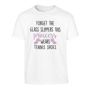 princess wears tennis shoes, kid's t-shirt sport tennis court ball racket 1654