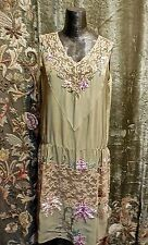 Authentic Gatsby Vintage 1920s Flapper Silk Lace Ribbon Work Beaded Dress