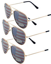 3 PAIRS GOLD Aviator USA American Flag Sunglasses United States stars stripes US