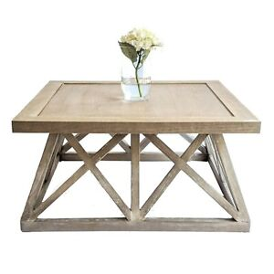 Hamptons Farmhouse Coastal Style Square Coffee Table in Whitewashed Oak Wood