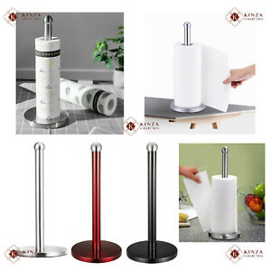 3 Colours - Stainless Steel Kitchen Roll Holder Paper Towel Stand Free Standing