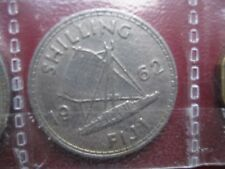 Fiji 1962 Shilling Queen Elizabeth II coin Outrigger Sail Boat