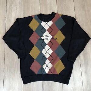 The Sweater Shop Jumper Vintage Argyle XL