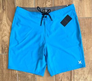 """New Authentic Mens Hurley Classic Stretch Board Shorts Blue 20"""" Surf Sz 36"""