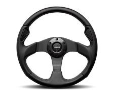 MOMO Steering Wheel JET Black Leather Carbon Inserts Black Spokes 350mm New