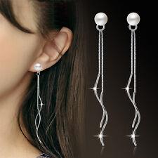 2017 Womens 925 Sterling Silver Freshwater Pearl Long Tassel Ear Stud Earrings