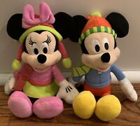 """Disney Mickey & Minnie Mouse 10"""" Beanbag Plush Winter Hats Scarves Just Play NEW"""