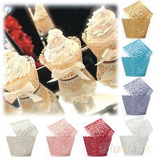 50x Filigree Lace Cup Cake Cupcake Wrapper Wrap Liner Birthday Wedding Party Eba