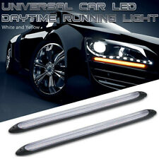 Pair Car LED Strip Daytime Running Light White Yellow DRL Sequential Turn Signal