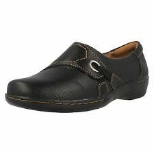 Clarks 'Evianna Boa' Ladies Black Tumbled Leather Slip On Comfortable Shoes