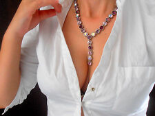 Layered Y Neck Swarovski Necklace Anna Wintour Wedding Art Deco Long Necklace