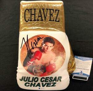 Julio Cesar Chavez autograph signed custom gold Boxing Glove ~ Beckett BAS COA