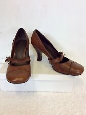MONSOON BROWN LEATHER MARY JANE HEELS SIZE 7/40 COST £70