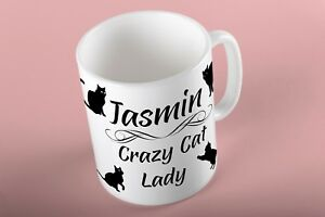 PERSONALISED CAT PET KITTEN MUG CUP COFFEE BIRTHDAY GIFT CRAZY LADY TEXT WOMENS