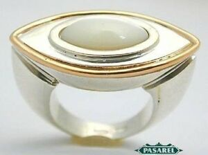 9k Rose Gold Sterling Silver Mother of Pearl Ring Size 7