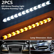 2x Car Arrow Daytime Lamp LED Flowing Light Strip Turn Signal DRL White & Amber