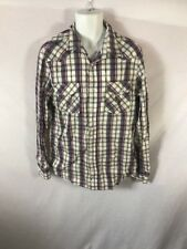 Men's BLUENOTES Slim Fit Pearl Snap Western Plaid Casual Shirt Sz LARGE