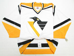 PITTSBURGH PENGUINS AUTHENTIC WHITE CCM 6100 TEAM ISSUED JERSEY SIZE 54 *RARE*