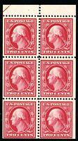 USAstamps Unused FVF US 1908 Washington Booklet Pane Scott 332a OG MVLH