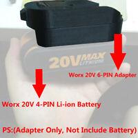 1PCS WORX 20V POWER SHARE 6-PIN Battery Adapter Work with WORX 20V 4-PIN Battery