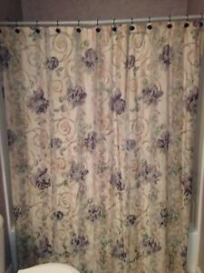 "Croscill Chambord Cassis Fabric Shower Curtain Amethyst Flowers 73"" by 67"""