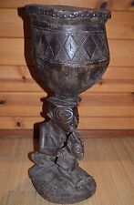 Antique Luba Tribe African Carved Wood Ceremony Drum Mother & Child Congo Africa