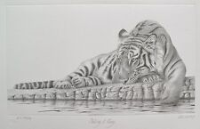 PETER HILDICK TAKING IT EASY TIGER Hand Signed Limited Edition Art Etching
