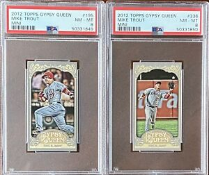 MIKE TROUT 2012 Topps Gypsy Queen MINI #195 & #336 PSA 8 NM-MT 2 Card LOT
