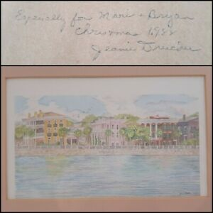 "Jeanie Drecker 1988 Gifted Signed Print & Frame ""Battery Reflections"" Charleston"