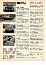 1967 SAAB V-4  ~  NICE ORIGINAL SINGLE-PAGE ARTICLE / AD