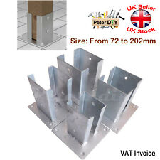 Heavy Duty Galvanised Bolt Down SQUARE POST SUPPORT Fence Foot Base 72-202mm