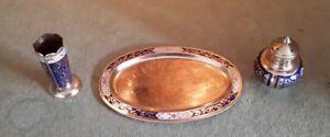 Small Size Vintage Eastern Copper Brass & Enamel Tray Ornamental Set