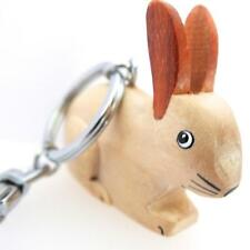 WHITE RABBIT CARABINER KEYRING FAIR TRADE, HANDMADE IN WOOD FROM NAMESAKES