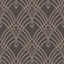 Astoria Art Déco Papier Peint Gris Charbon / Argent - Rasch 305319 Pailleté