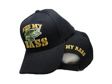 Kiss My Bass Fisihing FIsh Redneck Black Embroidered Baseball Ball Cap Hat