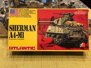 ATLANTIC SHERMAN A4-M1 TANK HO SCALE MINT ON THE SPRUE SET CONTAINS 2 TANKS
