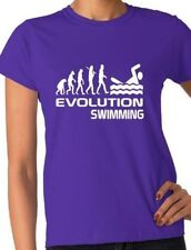 Evolution Of Swimming Gift for Swimmer Pool Ladies T Shirt  Size S-XXL