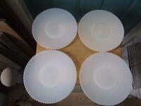 "Four Macbeth-Evans Depression Glass Petalware Monax 10 1/2"" & 10 3/4"" Plates"