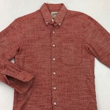 Naked & Famous Mens Oxford Shirt Red White Geometric Long Sleeve Button Down S