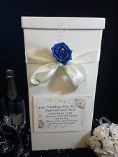 Wedding Card Post Box Ivory Personalised Royal Blue Rose Flower Gift Well