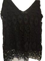 ZARA S (10/12) black lace strappy cami vest top RRP £19.99 BNWTS