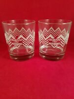 DISARONNO WEARS MISSONI GLASSES SET OF TWO ( 2 ) ROCKS GLASS ETCHED ZIG - ZAG