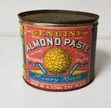 Vintage Tin Genuine Almond Paste 5lbs Henry Heide