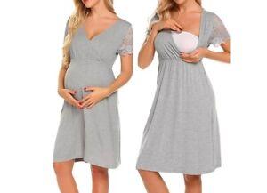 Nachthemd Stillnachthemd Stillen Schwangerschaft Stillmode Neu Hemd NEU Kurzarm